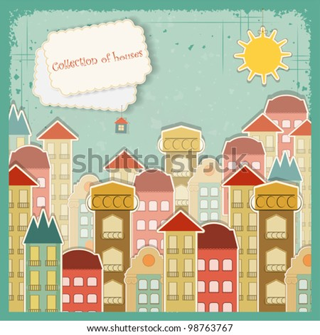 collection of houses on vintage ...