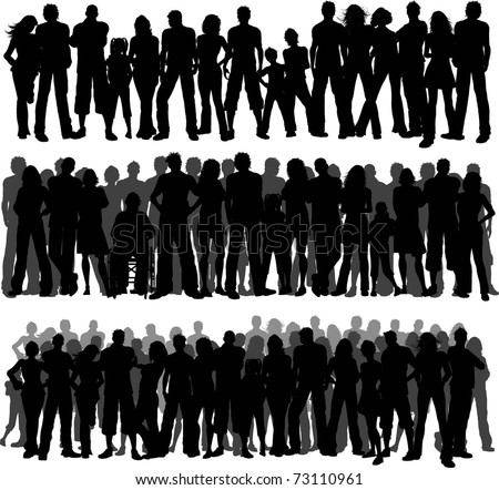 Collection of huge crowds of people - each silhouette is separate and can be used individually