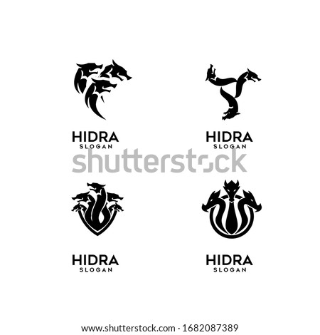 collection of hydra logo black icon design vector illustration Foto stock ©