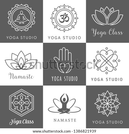Collection of icons - logos for a yoga studio