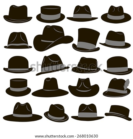 Collection of 20 icons of black man's retro hat with gray ribbons on a white background Stock fotó ©