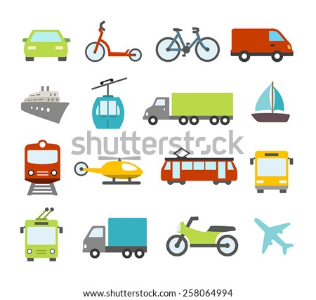 Collection of icons related to transportation, cars and various vehicles.