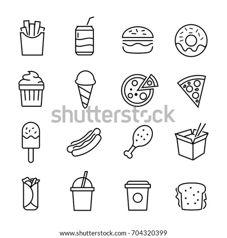 Collection of icons representing fast food, junk food, unhealthy eating. Thin lines style.