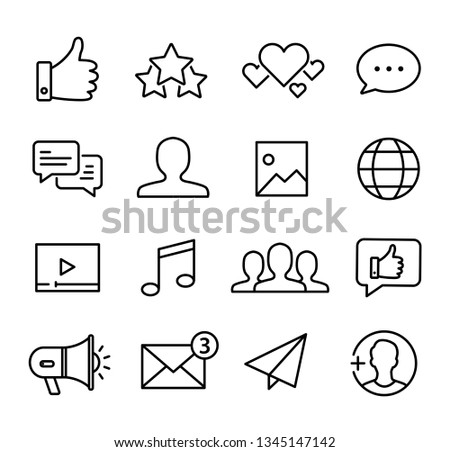 Collection of icons representing social media, connection, communication. Modern, thin lines style.