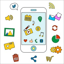 Collection of icons, signs and symbols with smartphone presentation