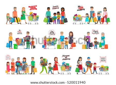 Collection of icons with family. The history of our favorite pleasure of shopping. Families gathered together with carts and goods inside. Vector
