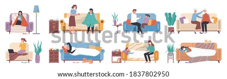 Collection of ill or sick and recovered people on sofa or couch at home. Sick person having cold. Adults and children having influenza, common cold or infection and recovering. Flu and sickness
