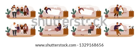 Collection of ill or sick and recovered people on sofa or couch. Bundle of adults and children having influenza, common cold or infection and recovering. Vector illustration in flat cartoon style.
