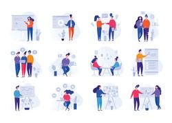 Collection of illustrations with people working in the office, making a presentation, negotiating and discussing business issues, developing ideas. Flat cartoon vector banners.