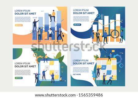 Collection of images with people working with business analysis. Graph, teamwork, finance. Flat vector illustration. Business process concept for banner, website design or landing web page