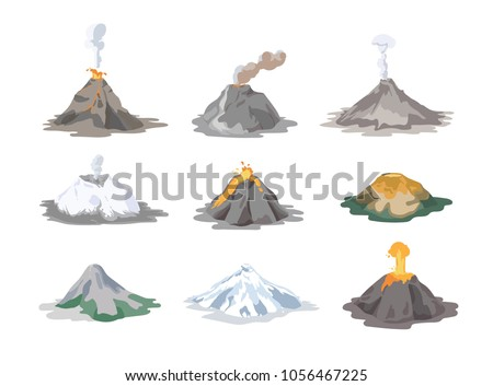 Collection of inactive and active volcanoes erupting and emitting smoke, ash clouds and lava isolated on white background. Bundle of volcanic eruptions. Colorful vector illustration in flat style.