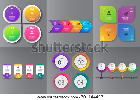 Collection of Infographic design template for presentation,Business 3d infographics,can be used for workflow layout, diagram, annual report, web design.banner,label,set of colorful infographics vector