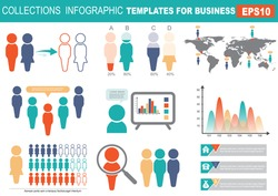 Collection of infographic people    elements for business.Vector   illustration