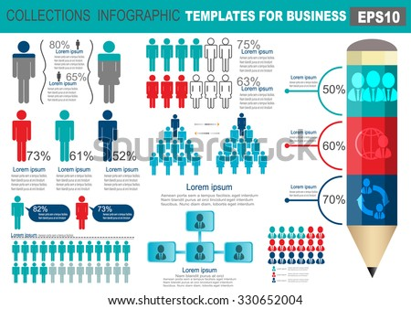 Collection of infographic people elements for business. Vector illustration