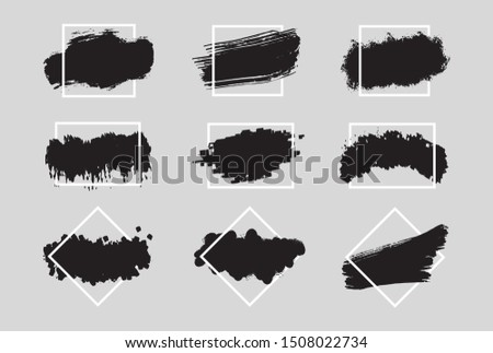Collection of inks with geometric frame. Set of black paint, ink brush strokes, brushes, lines.  Vector illustration
