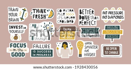 Collection of inspirational quotes in stickers. Success, growing concept. Bundle of decoration for daily planner, journal, scrapbook. Vector hand drawn cartoon illustration.