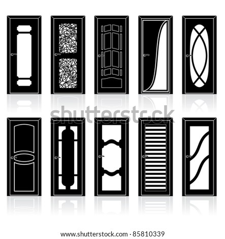 Collection of Interior Door Vector Silhouettes