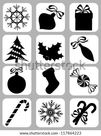 Collection of Isolated Christmas Icons on White Background, Vector Illustration