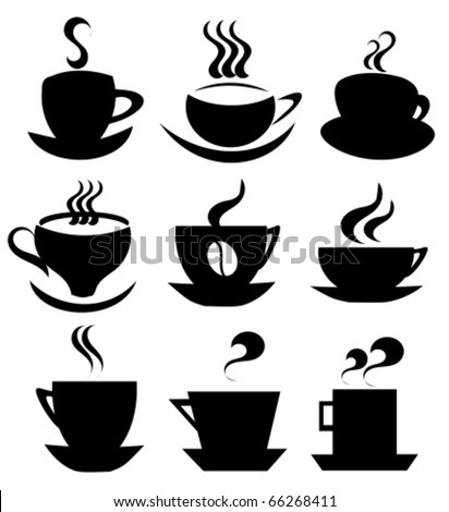 Collection of isolated coffee  cups shapes vector icons or logos for design