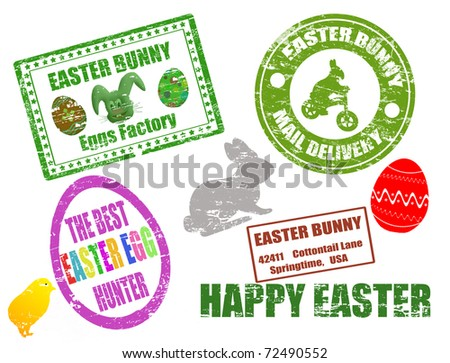 Collection of isolated grunge Easter stamps on white background