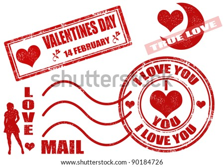 Collection of isolated grunge Valentine's Day stamps on white background