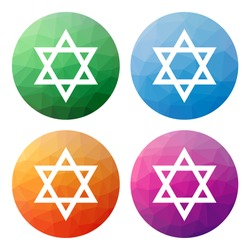 Collection of 4 isolated modern low polygonal buttons - icons - for Star of David (jewish symbol)