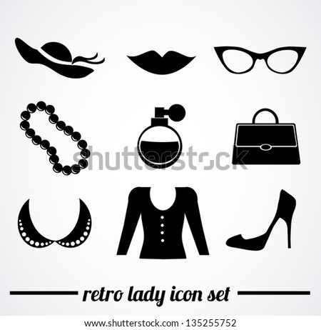 Collection of isolated, retro, vintage, lady accessories icons on white background. Vector illustration.