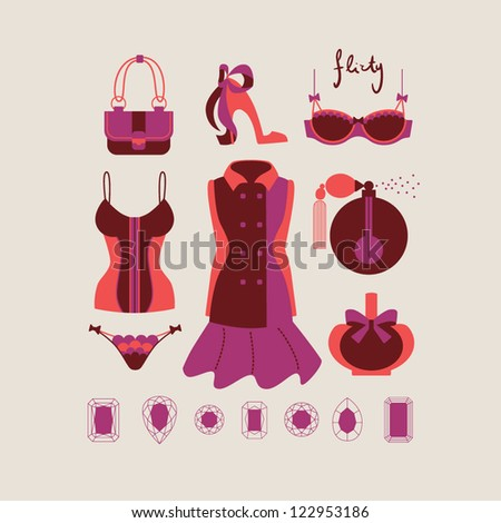 collection of isolated woman clothes and accessories in romantic flirty style vector illustration eps 10