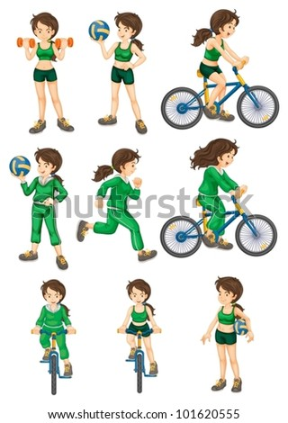 Collection of isolated woman doing exercises