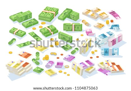Collection of isometric cash money. Set of various currencies - dollar, euro, ruble bills or banknotes in rolls and bundles and coins isolated on white background. Colorful vector illustration
