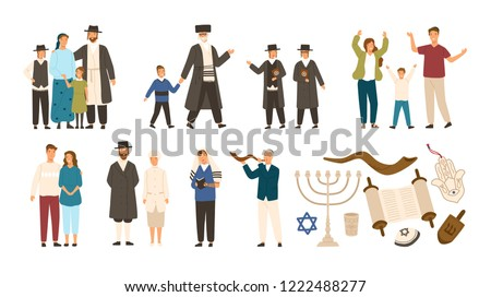 Collection of jews and Jewish or Hebrew symbols. Couple, happy family, boys reading Torah and playing Shofar. Cute cartoon characters isolated on white background. Vector illustration in flat style. ストックフォト ©