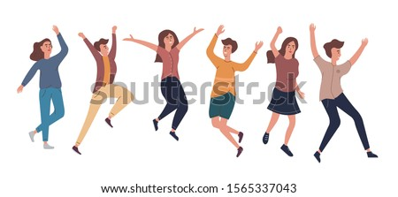 Collection of joyful jumping men and women dressed in casual clothes. The concept of friendship, healthy, happiness, lifestyle, young, party, success. Vector illustration in a flat style.