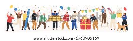 Collection of joyful people celebrating holiday vector flat illustration. Set of happy man and woman at birthday party with confetti, cake and gifts isolated on white. Festive friends at event
