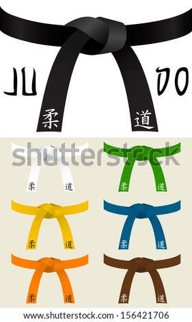 Collection of Judo or other martial art belts the foreign text means JUDO