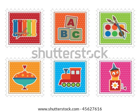 collection of kids stamps with toddler toys isolated on white
