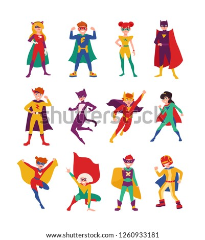 collection of kids superheroes