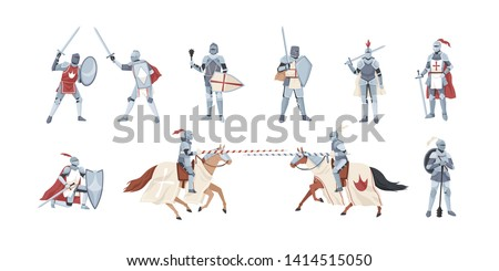 Collection of knights. Bundle of warriors holding sword, shield, mace or fighting in battle isolated on white background. Set of medieval heroes wearing armor. Flat cartoon vector illustration.