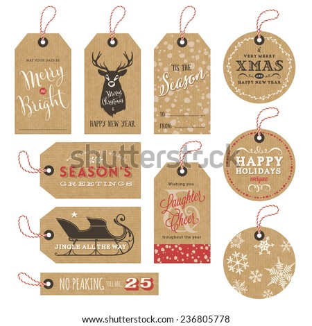 collection of 10 kraft paper christmas gift tags