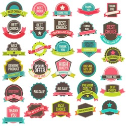 Collection of labels and ribbons.Vector design elements