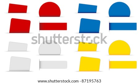 Collection of Labels in Different Shapes and Colors on White Background