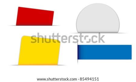Collection of Labels in Different Shapes on White Background