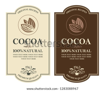 collection of labels with cocoa beans, branch and leaves