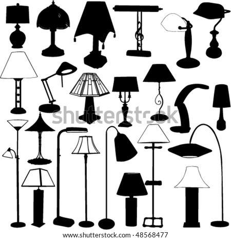 collection of lamps silhouette - vector