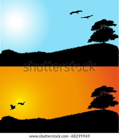 Collection of landscape backgrounds : tree and birds