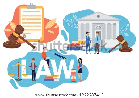 Collection of law justice composition concept. Weights, courthouse, lawyer and lawyer hammer symbol.lawyer. Vector illustration in cartoon style. Сток-фото ©