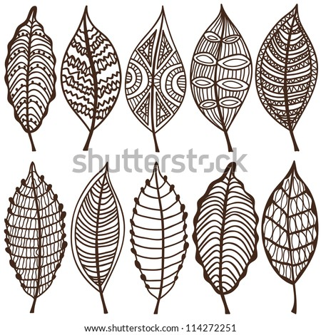 Collection of leaves. Vector set. Sketches