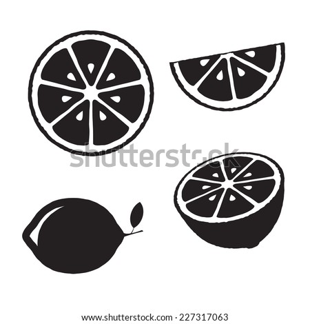 collection of lemons  icons set