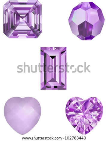 Collection of lilac Crystal Vector Illustrations - illustrating an Asscher Diamond, A crystal Bead, an Emerald Cut Diamond, a faceted stone Heart and a Heart Cut Diamond