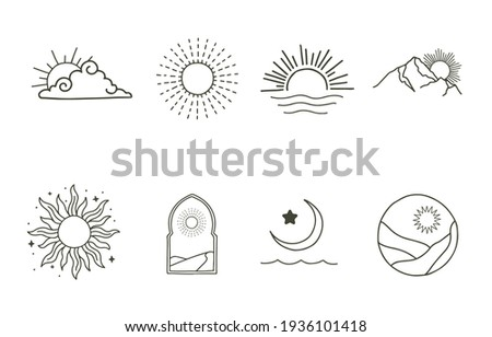 Collection of line design with sun,sea,wave,mountain.Editable vector illustration for website, sticker, tattoo,icon