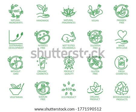 Collection of linear icons or badges for eco friendly products, organic cosmetics, vegan and vegetarian food isolated on white background. Vector illustration in line art style.